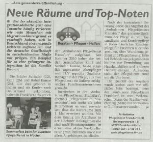 PflegeDienst Frankfurt hat neue Räume und wurde Top bewertet